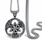 Men Boy Silver Black Celtic knot Magic Pendant w/ Stainless Steel Necklace chain