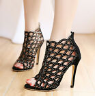 Women's High Heel Stilettos Hollow Out Rhinestone Opne Toe Sandal Party Shoes