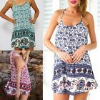 Sexy Women Sleeveless Strap Elephant Printed Beach Party Mini Dress Summer Hot