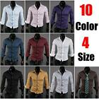 New Men Fashion Black Slim Fit Luxury Long Sleeve Casual Dress Tee Shirts Tops