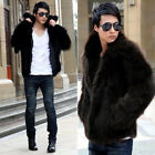 New Long Sleeve Men Lapel Faux Fox Fur Fluffy Warm Winter Waist Coat Jacket