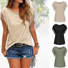 Summer Sexy Women Loose Tassels Short Sleeve Casual Tops Blouse Ladies T-Shirt Y