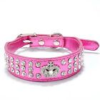 Bling Rhinestone Crystal Diamante Crown Hot Pink Leather Dog Collar Cat Necklace