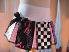 New COOL Baby Girls Black white pink spotted check skulls Pleated party skirt