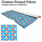 ALICE IN WONDERLAND RED HEARTS BLUE DIAMONDS FABRIC LYCRA SPANDEX POLYESTER