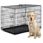 48/42/36/30/24 Pet Kennel Cat Dog Folding Crate Wire Metal Cage W/Divider