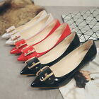 Chic Women Kitten Heels Pumps Pointed Toe Shoes Slip On PU Leather Footwear