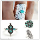 1 PC Retro Bohemia Tophus Cactus Sun Moon Carving Flower Wide Geometric Ring