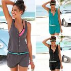 Women O-Neck Sleeveless Elastic Wasit Button Up Solid Short Playsuit EN24H