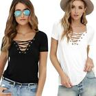 Women Summer Lace Up Sexy Short Sleeve T-shirt Casual Slim Party Blouse Tops