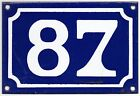 Old blue French house number 87 door gate wall fence street sign plate plaque