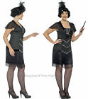 16-30 Black Flapper Costume + Headband 20s Charleston Ladies Fancy Dress Outfit