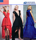 Lace Up Frills Pageant Evening Gown Formal Prom Party High Low Dress US Local