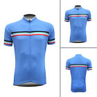 New Men's Bicycle Short Sleeve Tops 3 Pockets Jerseys Polyester Race Fit Blue