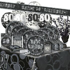 80/80th BIRTHDAY BLACK/SILVER GLITZ Party Range (Birthday/Plates/Napkins/Banner)