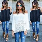 Sexy Womens Off Shoulder Lace Strapless T-Shirt Summer  Loose Tops Blouse S0BZ