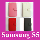 4 X Genuine Leather Wallet Flip Cover With Stand Case  Cover For Samsung S5