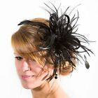 Black Fascinator hat/choose any colour satin/ feathers