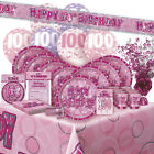 AGE 100/100TH BIRTHDAY PINK GLITZ PARTY RANGE (Balloon/Decoration/Banner)