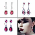 Fashion anniversary's gift! Red Ruby wedding Chandelier Dangle earring Jewelry