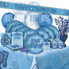 AGE 18/18TH BIRTHDAY BLUE GLITZ PARTY RANGE (Balloon/Decoration/Banner/Napkins)