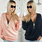 New Ladies V-Neck Long Sleeve Hoodie Zip up Womens Jumper Pullover Blouse Tops