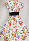 GIRLS CREAMY WHITE FLORAL PRINT 50s VINTAGE STYLE CALF LENGTH MIDI PARTY DRESS