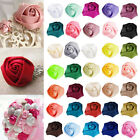 10pcs 25mm Satin Ribbon Rose Flower Craft Wedding Appliques Favors DIY OBRN0033