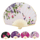 Bamboo Ribs Seashell Design Floral Pattern Japanese Style Foldable Hand Fan