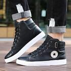 NEW Men Patchwork Shoes Casual Canvas High Top Lace Up Boots Footwear Flats - LD