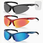 POLARIZED SPORTS Cycling Mens Womens Wrap Sunglasses Mirrored Blue Black UV400