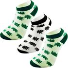 3 Pairs Cotton Rich Rasta Ganja Weed Leaf Sports Ankle Trainer Socks White Green