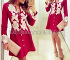 Fashion Women Summer Bodycon Evening Cocktail Party Long Sleeve Floral MiniDress