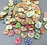 200pcs Mini Retro heart 2Holes Wooden Buttons Sewing Scrapbookin Crafts 14.5mm