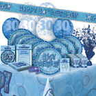 AGE 30/30TH BIRTHDAY BLUE GLITZ PARTY RANGE (Balloon/Decorations/Banner/Napkins)