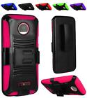 For Motorola Moto Z DROID Rugged Dual Layer Side Stand Holster Cover Case