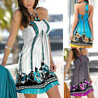 Ladies Backless Sleeveless Party Tops Womens Summer Print Floral Beach Dress