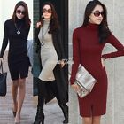 Women Spring Winter Bodycon High Collar Long Sleeve Knitted Bottoming Dress M-XL