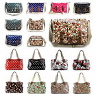 Ladies Oilcloth Polka Dots Cross Body Shoulder Bag Messenger Satchel School Bag
