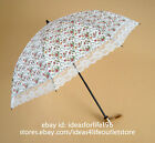New Deluxe Folding Umbrella Lightweight Floral Lace Parasol Compact Auti UV