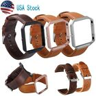 Genuine Leather Watch Band Wrist Strap and Metal Frame For Fitbit Blaze Autumn