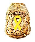Yellow Awareness Ribbon Pin Police Badge Security Sheriff Cancer Cause Gold New