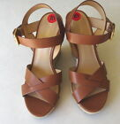NEW Michael Kors Women's Espadrille Platform Wedge Sandals Luggage Brown Leather