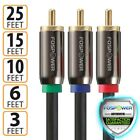 FosPower 3 6 10 15 25 FT Dual Layer 3 RCA Male YPbPr Component RGB Video Cable