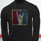 ROCK ON VINTAGE FOREVER ROLL DISTRESS PARTY Mens Black Long Sleeve T-Shirt