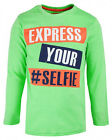 Boys Chainstore Express Yourself #Selfie Green Long Sleeve Top 2 to 8 Years