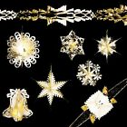Christmas Foil Ceiling Decorations Garlands Stars Snowflakes – Ivory & Gold