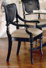 Pair Heritage Black Dining Arm Chairs Beautiful Cane And Creme Upholstery NIB