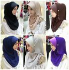 Muslim Pull On Ready Made One PIECE Diamonte Arab Hijab Stretch Scarf Headwear