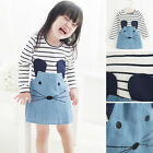 Cute Girl Mouse Printed Dress Kids Clothing Long Sleeve Top T-Shirt Dress 2-6T